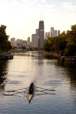 Rower on Lincoln Park lagoon