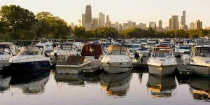 Diversey Harbor and skyline at dawn