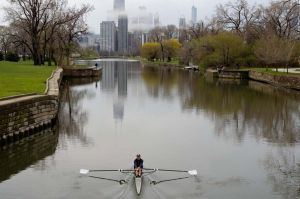 Lincoln Park Lagoon and rower