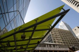 Dynamic green awning of the Wit Hotel