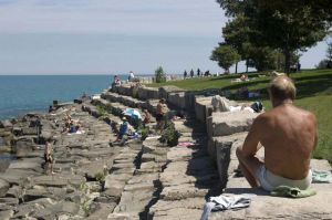 Beach at The Point, Hyde Park neighborhood in Chicago