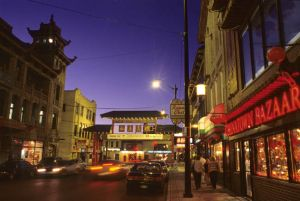 Chinatown in Chicago, Wentworth Avenue at dusk