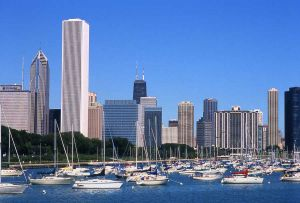 Chicago skyline and Monroe Harbor with boats - Chicago Skyline Photographs