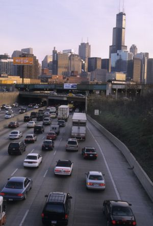 Chicago skyline and Kennedy Expressway - Chicago Skyline Photos