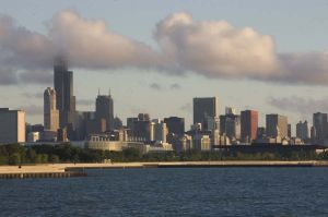 Chicago Skyline from the south, early morning - Chicago Skyline Photos
