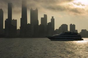 Chicago Skyline at dusk with Lake Michigan and boat