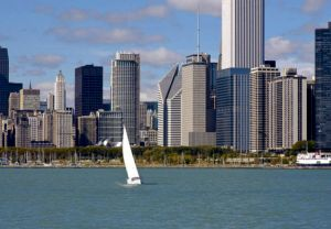 Chicago Skyline seen from Lake Michigan - Chicago Skyline Photos