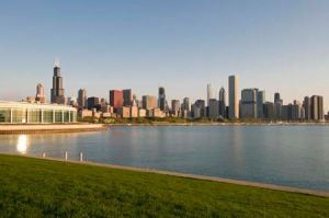 Chicago Skyline and Monroe Harbor - Chicago Skyline Photos