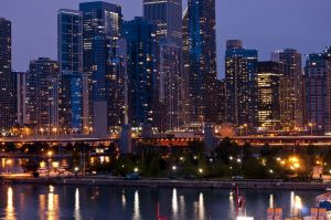 Chicago Skyline from Navy Pier - Chicago Skyline Photos