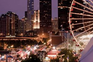 Chicago Skyline from Navy Pier - Chicago Skyline Photography