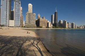 Chicago Skyline and Ohio Street Beach - Chicago Skyline Photography