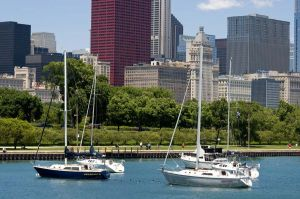Chicago Skyline and Monroe Harbor - Chicago Skyline Photography