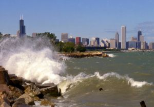 Crashing waves on Lake Michigan, shot from south of Chicago