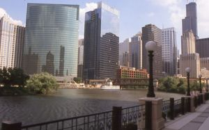 Chicago skyline and Chicago River - Chicago Skyline Photographs