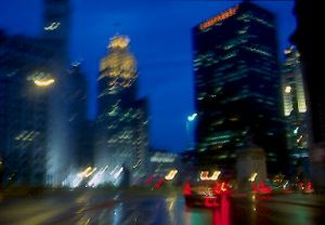 Chicago skyline and Wacker Drive at dusk - Chicago Skyline Photographs