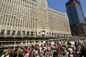 Architecture tour boat and Merchandise Mart - Chicago photographs