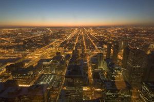Chicago Skyline at night from Willis Tower  - Chicago photography