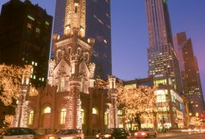 Water Tower and Michigan Avenue at Christmas  - Chicago photography