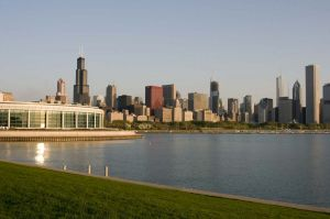 Chicago Skyline from Adler Planetarium at dawn - Photographs of Chicago