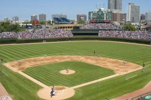 Historic Wrigley Field, home of the Chicago Cubs with manual scoreboard - Photographs of Chicago
