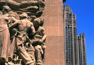 Bas Relief on the Michigan Ave. Bridge and the Tribune Tower