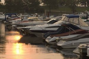 Diversey Harbor and boats at dawn - Chicago lakefront photographs