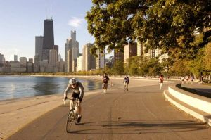 Joggers and bikers at North Avenue Beach - Chicago lakefront photographs
