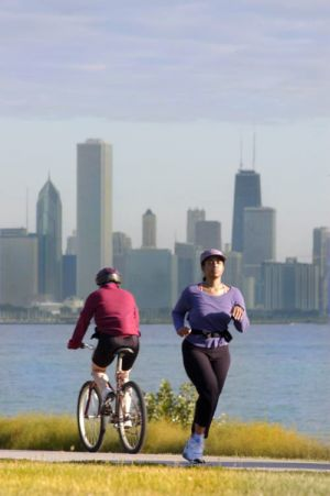 Bike path on southside, skyline - Chicago lakefront photographs