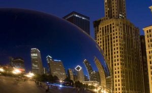Cloud Gate or The Bean at Millennium Park at night