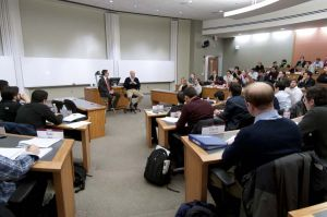 Treasury Secretary Hank Paulson speaks to business students