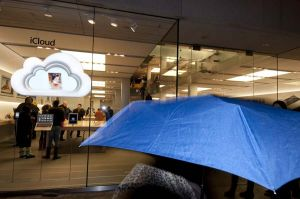Apple Store and blue umbrella
