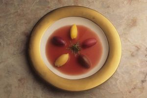 A fruit soup at Charlie Trotters in 1992 for Town & Country magazine