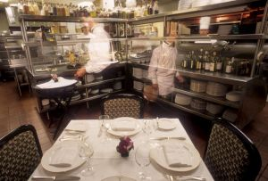 The famous table in the kitchen at Charlie Trotters 1992