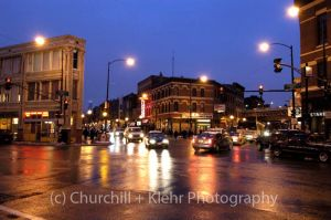 Six corners in Wicker Park - Chicago night photography