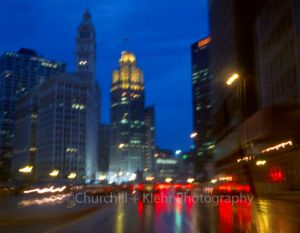 Wacker Drive in rain - Chicago night photography