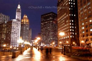 Wrigley Building and Wacker Drive - Chicago night photography