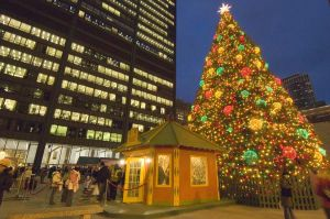Christkindlmarket in Chicago's Daley Plaza at Christmas