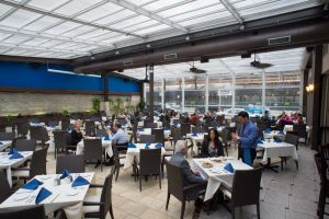 The bright enclosed patio at Athena Greek restaurant