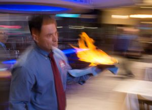 Saganaki--Flaming Greek Cheese  OPAH !!!