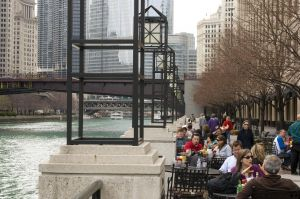 Along the new Chicago Riverwalk