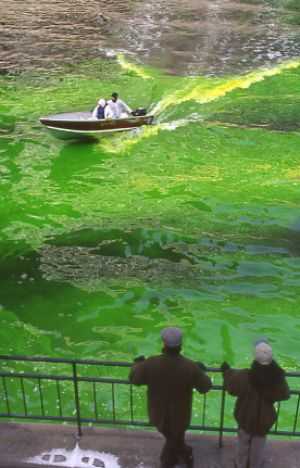 St Patricks Day dying the river green