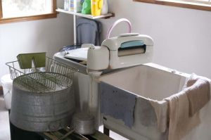 Washing clothes the old-fashioned way