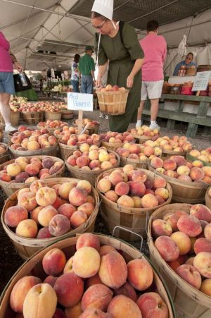 Shopping for peaches at Shipshewana Farmers Market
